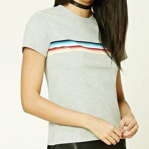 Forever 21 l Cotton Rainbow Stripe T-shirt